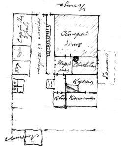 Планировка дома Тиханова на Лубянке. Рисунок арх. Лебедева. 1899 г.