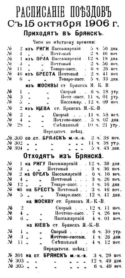 Расписание поездов из Брянска и в Брянск в 1906 г.