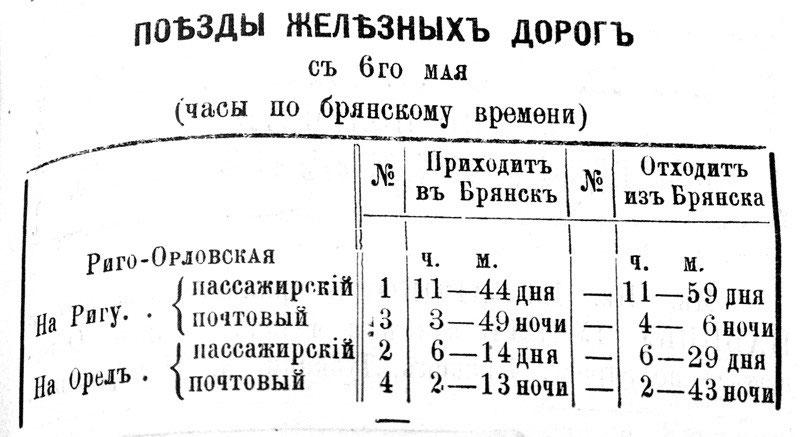 Расписание поездов Риго-орловской железной дороги. 1895 г.