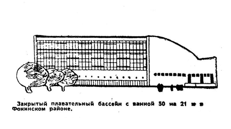 Закрытый плавательный бассейн с ванной 50 на 21 м в Фокинском районе. Рис. Ю. Тарабрина.