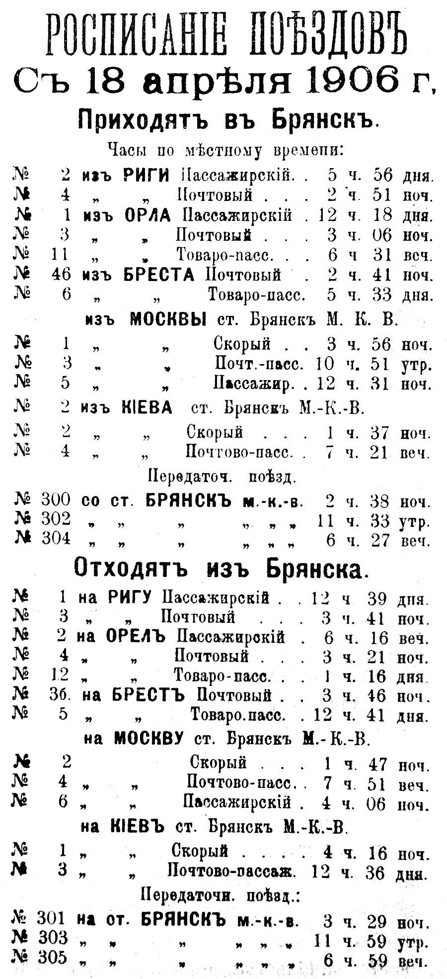 Расписание поездов с 18 апреля 1906 г. Брянск