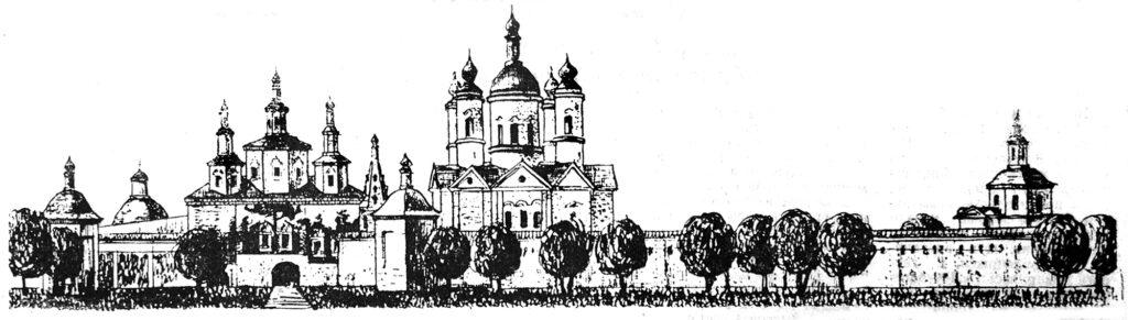 Свенский монастырь. Рисунок архитектора К. А. Митина. 1969 г.