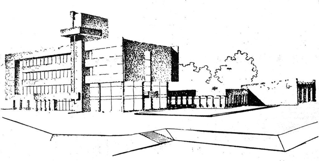 Проект морской школы ДОСААФ в Брянске. Арх. В. Тепляков и А. Зеленов. 1976 г.