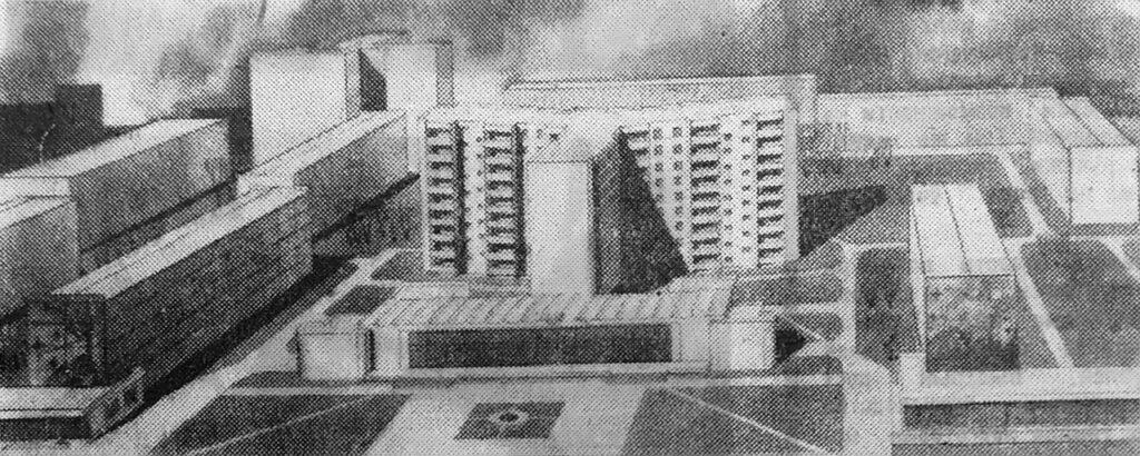 9-этажный дом в форме «трилистника» с магазином в окружении уже построенных зданий. Слева и справа на рисунке видны пристройки, которые предполагается сделать для аптеки, парикмахерской, кафе и узла связи.